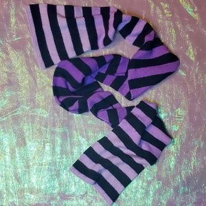 Angora Verigated Purple & Black Extra Long Scarf
